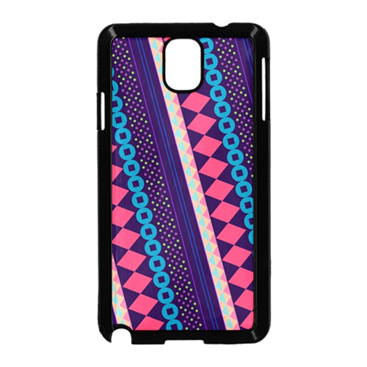 Purple And Pink Retro Geometric Pattern Samsung Galaxy Note 3 Neo Hardshell Case (Black)