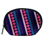 Purple And Pink Retro Geometric Pattern Accessory Pouches (Medium)  Front