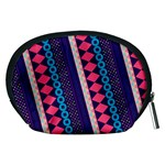 Purple And Pink Retro Geometric Pattern Accessory Pouches (Medium)  Back