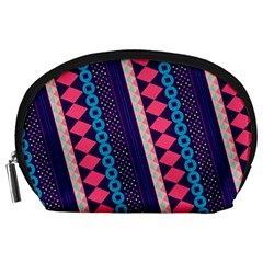 Purple And Pink Retro Geometric Pattern Accessory Pouches (Large)