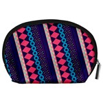 Purple And Pink Retro Geometric Pattern Accessory Pouches (Large)  Back