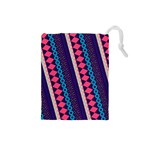 Purple And Pink Retro Geometric Pattern Drawstring Pouches (Small)  Front