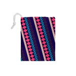 Purple And Pink Retro Geometric Pattern Drawstring Pouches (Small)  Back