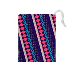 Purple And Pink Retro Geometric Pattern Drawstring Pouches (Medium)