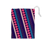 Purple And Pink Retro Geometric Pattern Drawstring Pouches (Medium)  Front