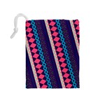 Purple And Pink Retro Geometric Pattern Drawstring Pouches (Medium)  Back