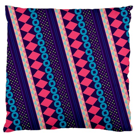 Purple And Pink Retro Geometric Pattern Large Flano Cushion Case (One Side)