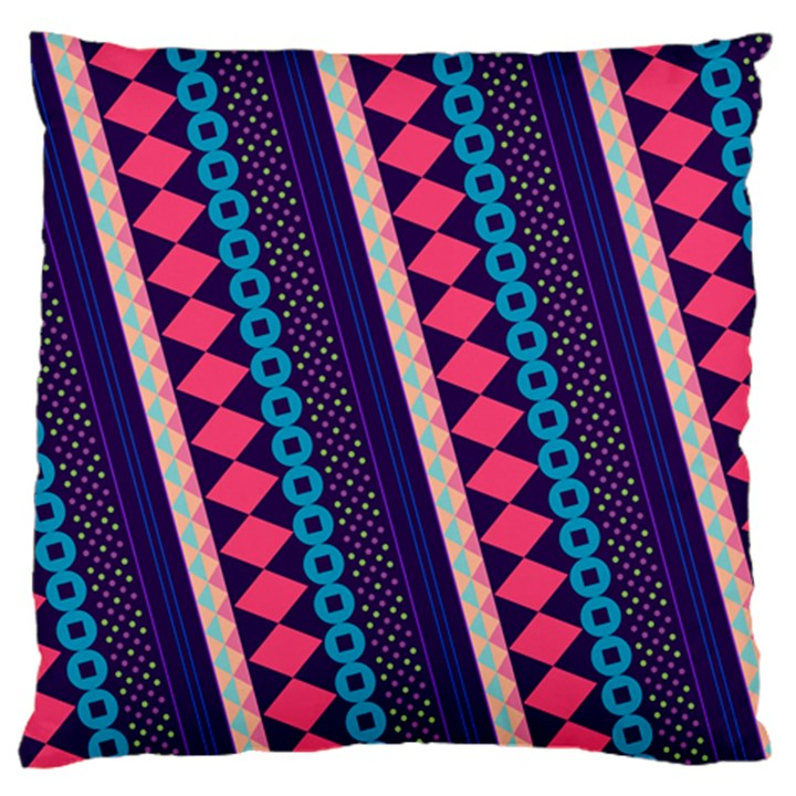 Purple And Pink Retro Geometric Pattern Large Flano Cushion Case (Two Sides)