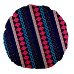 Purple And Pink Retro Geometric Pattern Large 18  Premium Flano Round Cushions Front