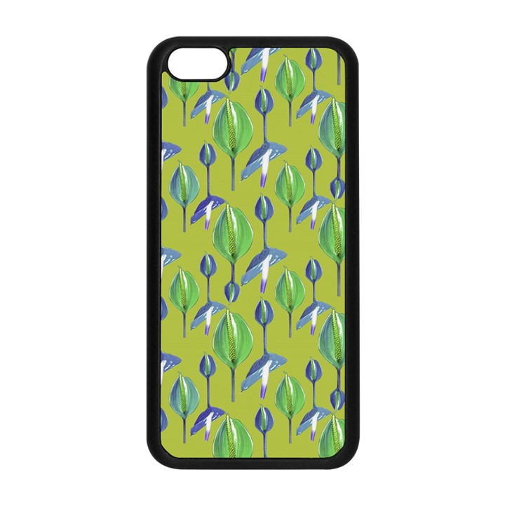 Tropical Floral Pattern Apple iPhone 5C Seamless Case (Black)