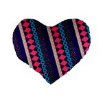 Purple And Pink Retro Geometric Pattern Standard 16  Premium Flano Heart Shape Cushions Back