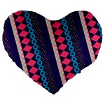 Purple And Pink Retro Geometric Pattern Large 19  Premium Flano Heart Shape Cushions Front