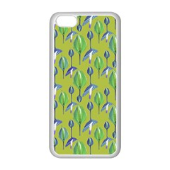 Tropical Floral Pattern Apple iPhone 5C Seamless Case (White)