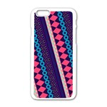 Purple And Pink Retro Geometric Pattern Apple iPhone 6/6S White Enamel Case Front
