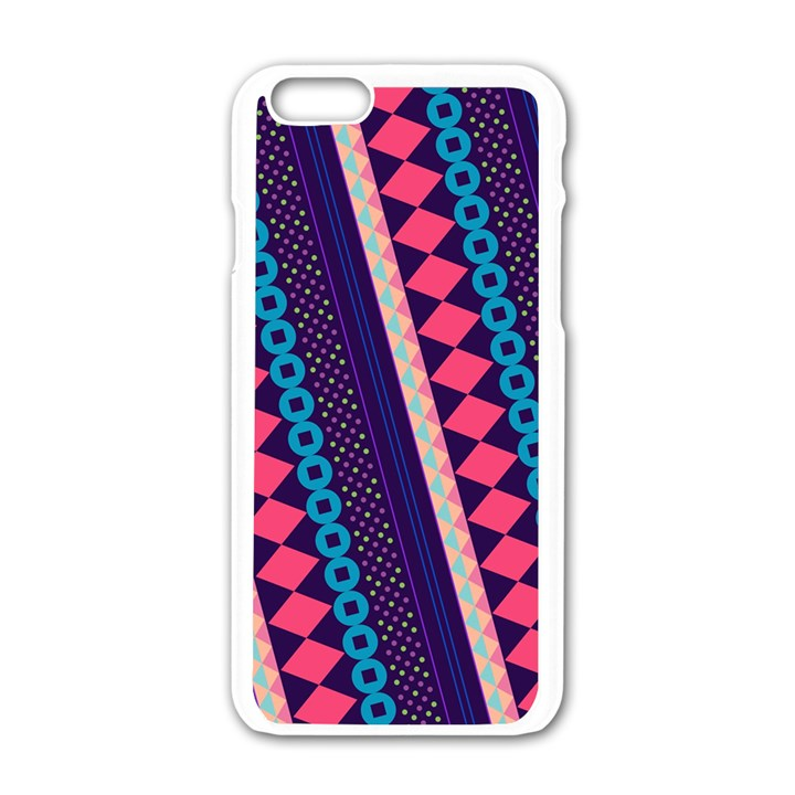 Purple And Pink Retro Geometric Pattern Apple iPhone 6/6S White Enamel Case