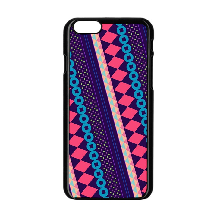 Purple And Pink Retro Geometric Pattern Apple iPhone 6/6S Black Enamel Case