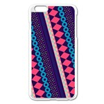 Purple And Pink Retro Geometric Pattern Apple iPhone 6 Plus/6S Plus Enamel White Case Front