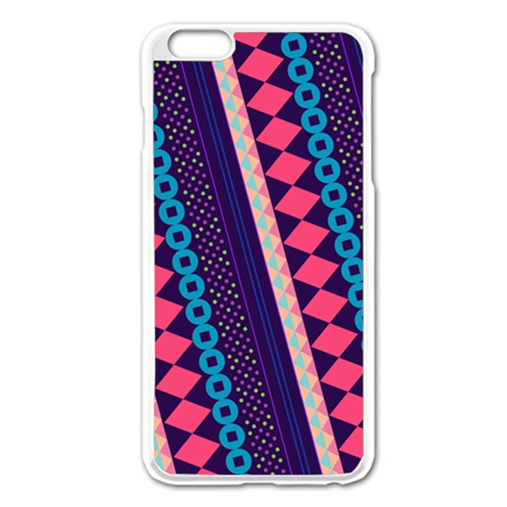 Purple And Pink Retro Geometric Pattern Apple iPhone 6 Plus/6S Plus Enamel White Case