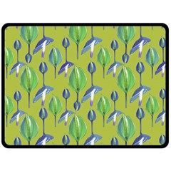 Tropical Floral Pattern Double Sided Fleece Blanket (large)