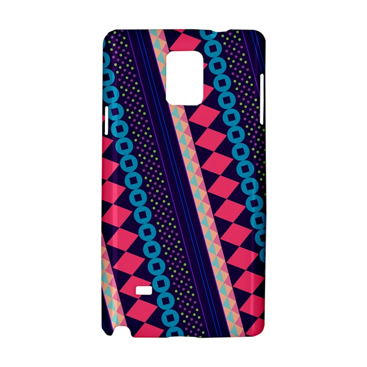 Purple And Pink Retro Geometric Pattern Samsung Galaxy Note 4 Hardshell Case