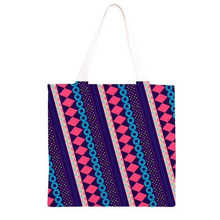 Purple And Pink Retro Geometric Pattern Grocery Light Tote Bag