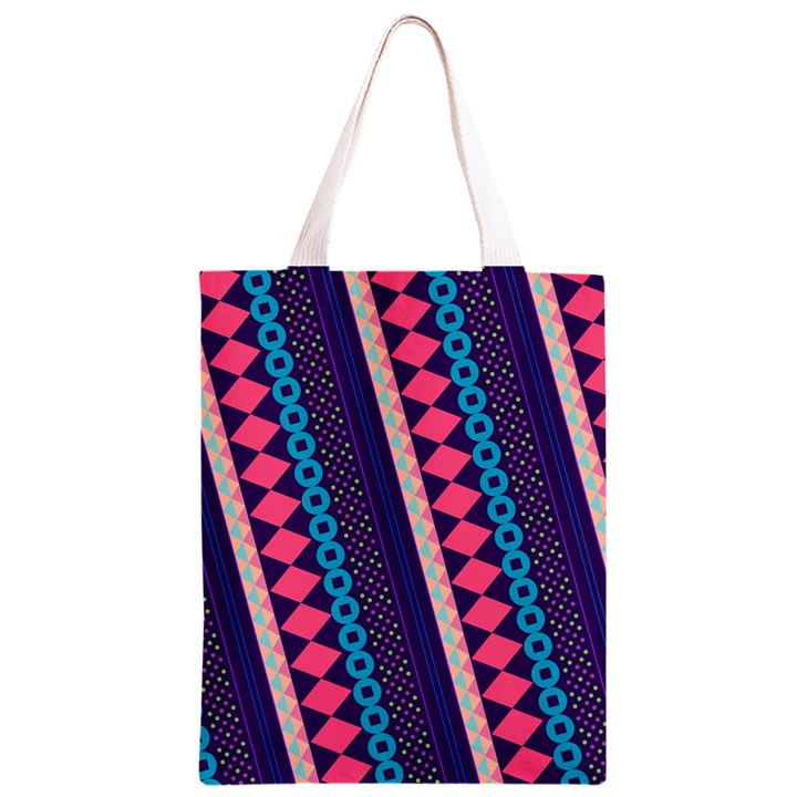 Purple And Pink Retro Geometric Pattern Classic Light Tote Bag