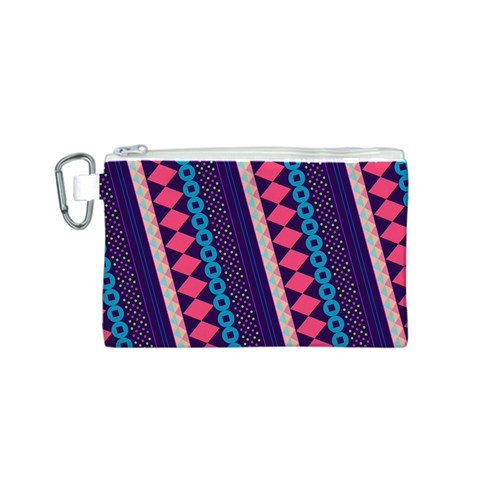 Purple And Pink Retro Geometric Pattern Canvas Cosmetic Bag (S)