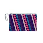 Purple And Pink Retro Geometric Pattern Canvas Cosmetic Bag (S) Front
