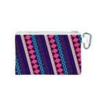Purple And Pink Retro Geometric Pattern Canvas Cosmetic Bag (S) Back