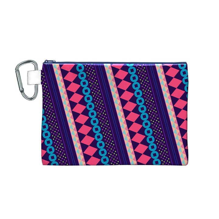 Purple And Pink Retro Geometric Pattern Canvas Cosmetic Bag (M)