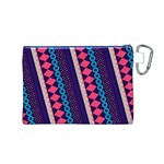 Purple And Pink Retro Geometric Pattern Canvas Cosmetic Bag (M) Back