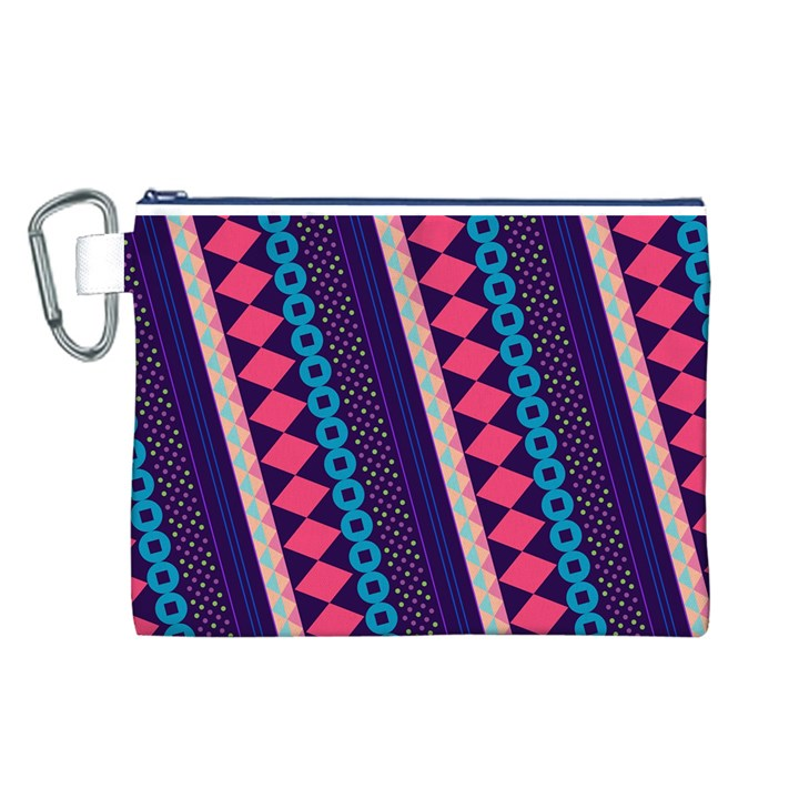 Purple And Pink Retro Geometric Pattern Canvas Cosmetic Bag (L)