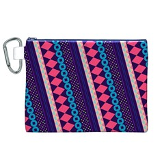 Purple And Pink Retro Geometric Pattern Canvas Cosmetic Bag (XL)