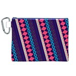 Purple And Pink Retro Geometric Pattern Canvas Cosmetic Bag (XL) Front