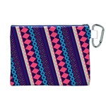 Purple And Pink Retro Geometric Pattern Canvas Cosmetic Bag (XL) Back