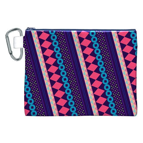 Purple And Pink Retro Geometric Pattern Canvas Cosmetic Bag (XXL)