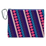 Purple And Pink Retro Geometric Pattern Canvas Cosmetic Bag (XXL) Front