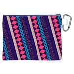 Purple And Pink Retro Geometric Pattern Canvas Cosmetic Bag (XXL) Back