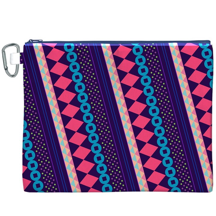 Purple And Pink Retro Geometric Pattern Canvas Cosmetic Bag (XXXL)