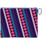 Purple And Pink Retro Geometric Pattern Canvas Cosmetic Bag (XXXL) Back