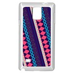 Purple And Pink Retro Geometric Pattern Samsung Galaxy Note 4 Case (White) Front