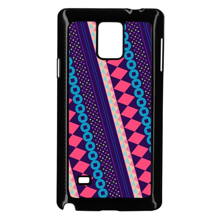 Purple And Pink Retro Geometric Pattern Samsung Galaxy Note 4 Case (Black)