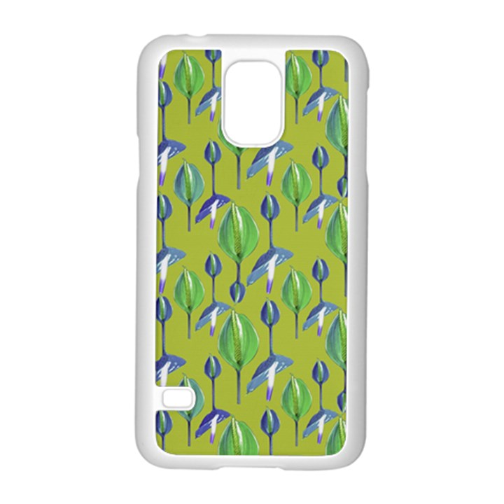 Tropical Floral Pattern Samsung Galaxy S5 Case (White)