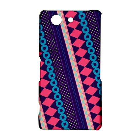 Purple And Pink Retro Geometric Pattern Sony Xperia Z3 Compact