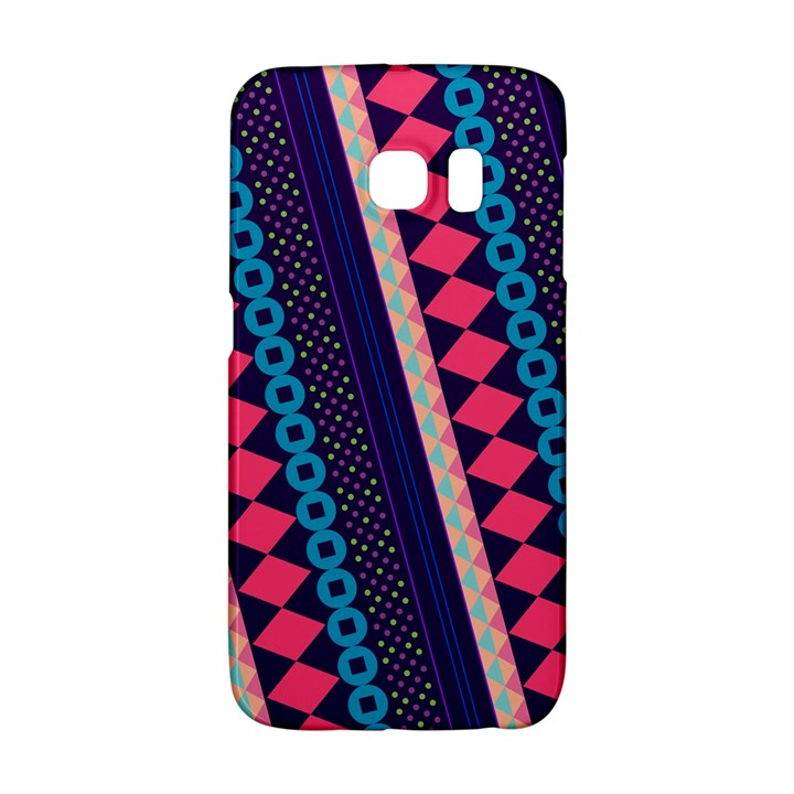 Purple And Pink Retro Geometric Pattern Galaxy S6 Edge