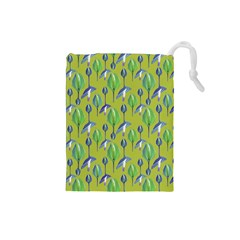 Tropical Floral Pattern Drawstring Pouches (Small)