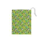Tropical Floral Pattern Drawstring Pouches (Small)  Front
