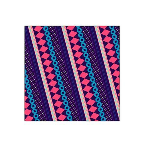 Purple And Pink Retro Geometric Pattern Satin Bandana Scarf