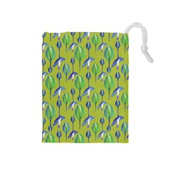 Tropical Floral Pattern Drawstring Pouches (Medium)