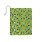 Tropical Floral Pattern Drawstring Pouches (Medium)  Back